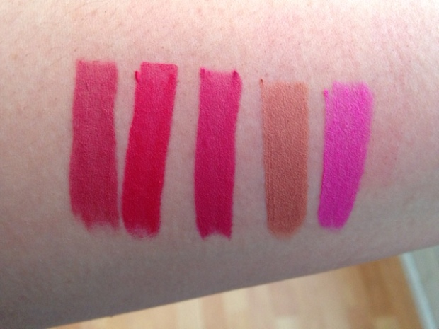 TrueColour Perfect Matte Lipsticks in From LEFT to RIGHT Mauve Matters, Ravishing Rose, Adoring Love, Au Naturale, Electric Pink
