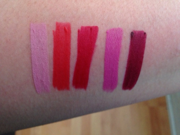 Avon TrueColour Perfect Matte Lipstick From LEFT to RIGHT Posh Petal, Coral Fever, Red Supreme, Ideal Lilac, Superb Wine